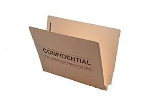 "Amerifile End Tab ""Confidential"" File Folders - 14 Pt - 2 Ply - Position 1&3 - Manila - Letter - Box of 50"