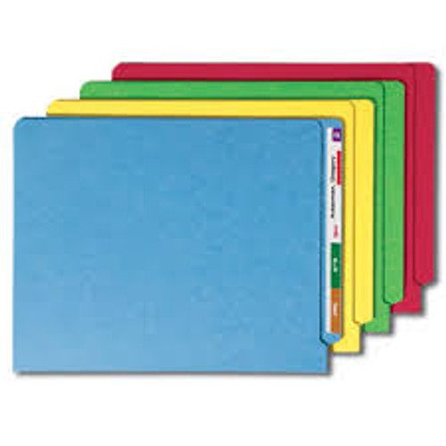 "Amerifile End Tab Solid Color File Folders - 11 Pt - 2 Ply - Position 1 - 3/4"" Accordion Expansion - Colored - Letter - Box of 50"