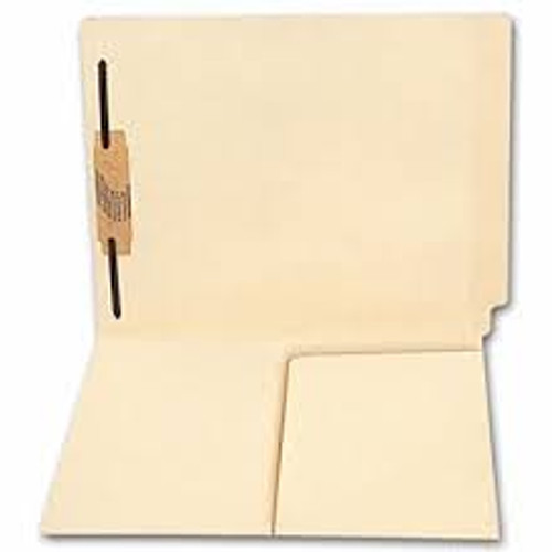 Amerifile End Tab Folders with 1/2 Pocket Inside Left Panel  - 11 Pt Manila  - 2 Ply End Tab - Fastener in Position 1 - Letter Size - Box of 50