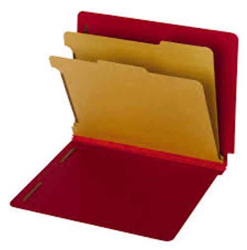 """Amerifile End Tab Classification Folders - 20 Pt - Position 1&3 - 2"""" Accordion Expansion - Straight Cut - Colored - 2 Divider - Letter - Box of 15"""