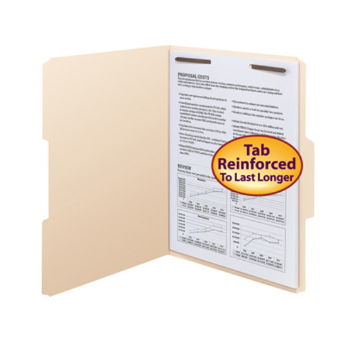 Amerifile Top Tab File Folders - 11 Pt Manila - 1/3 Cut Reinforced Top Tab in Assorted Positions - Embedded Fastener in Position 1 -  Letter Size- Box of 50