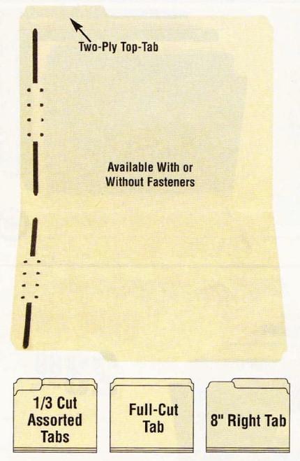 """Amerifile Top Tab File Folders - 11 Pt - 2 Ply - 8"""" Tab Cut - Letter - Box of 100"""