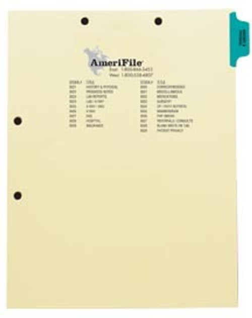 """""""History/Physical"""" -Index Side Tab Chart Divider- Blue Tab in Position 1 -  Box of 50"""