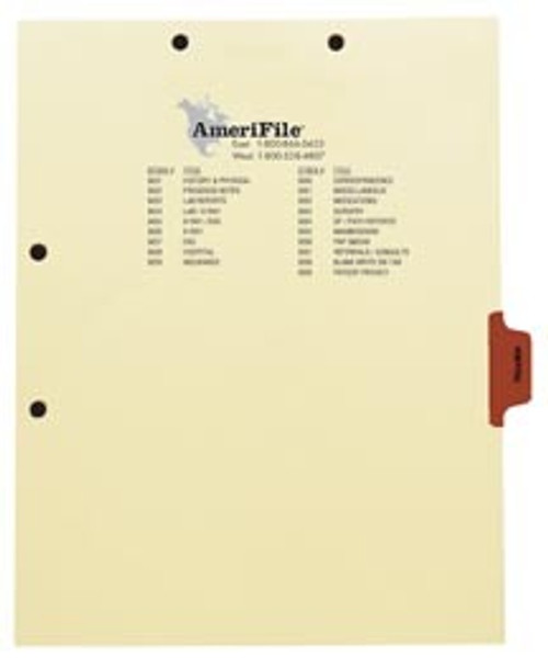 """Hospital"" -Side Tab Index Chart Divider - Brown Tab in Position 5 -  Box of 50"