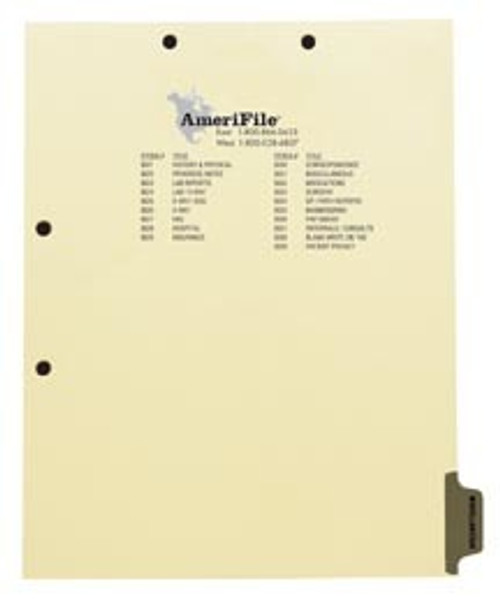 """""""Miscellaneous"""" - Side Tab Index Chart Divider - Gray Tab in Position 8 - Box of 50"""
