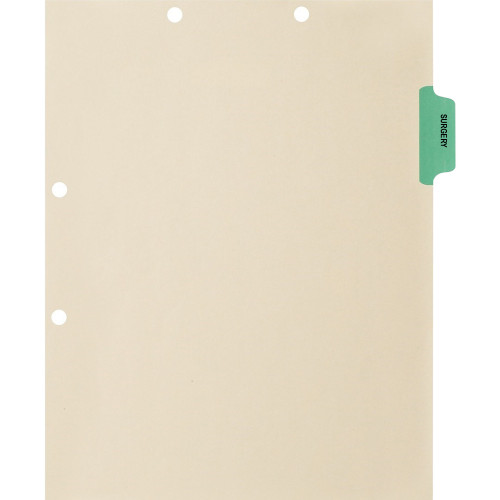 """""""Surgery"""" Side Tab Index Chart Divider - Green Tab in Position 2 - Box of 50"""
