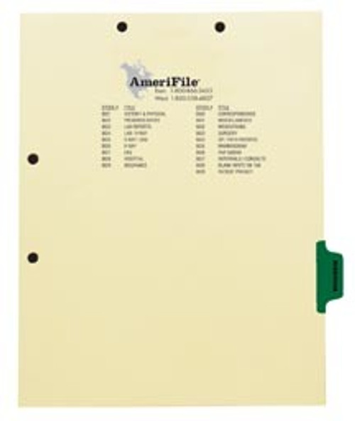 """""""Mammogram"""" - Side Tab Index Chart Divider - Green Tab in Position 6 -  Box of 50"""