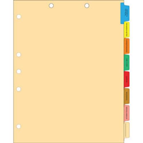 Amerifile Side Tab Medical Chart Divider Sets - 8 Tabs Pre-Printed Medical - 50 Sets Per Box