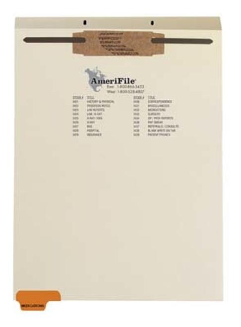 """Medications"" Bottom Tab Fileback Dividers - Amber Tab Position 1 - Divider - Box of 50"