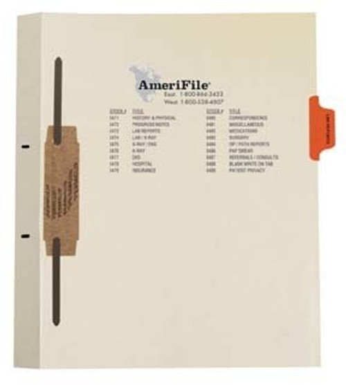 """Lab Reports""  Amerifile Side Tab Individual Fileback Dividers - Orange Tab Position 3 - Divider - Box of 50"