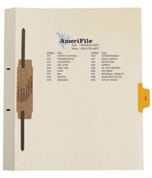 """EKG"" Amerifile Side Tab Individual Fileback Dividers - Yellow Tab Position 5 -  Box of 50"