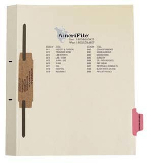 """Correspondence"" Amerifile Side Tab Fileback Dividers - Pink Tab Position 7 - Box of 50"