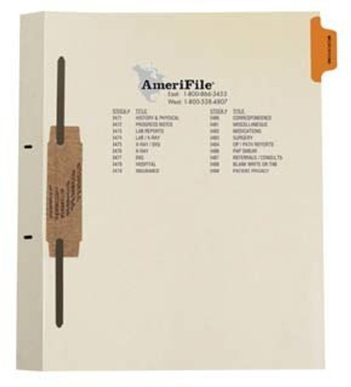 """Medications"" Amerifile Side Tab Individual Fileback Dividers - Orange Tab in Position 1 -  Box of 50"