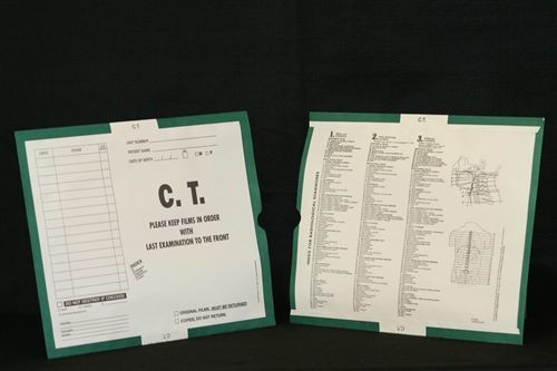 """AmeriFile X-Ray Category Insert Envelopes - Open End - C.T. Scan - Kelly Green - 14-1/4"""" x 17-1/2"""" - System I - FXE63374 - Box of 250"""