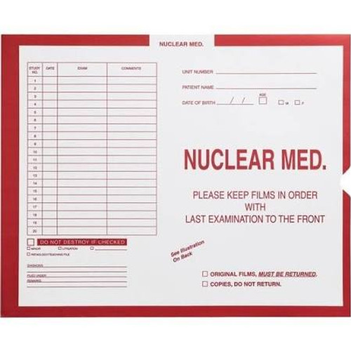 "Nuclear Medicine X-Ray Category Insert Envelopes - Open on End -  Red - 10-1/2"" x 12-1/2"" - Carton of 250"