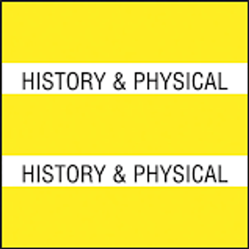 "AmeriFile Chart Divider Tabs - ""History & Physical"" - Yellow - 1 1/2"" X 1 1/2"" - 102/Pack"