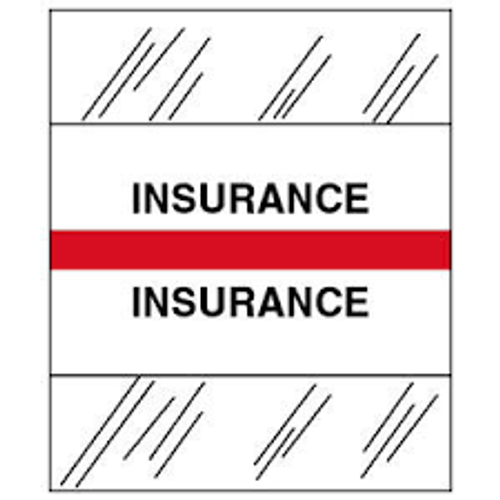"""Amerifile (Tabbies Compatible) Chart Divider Tabs - """"Insurance"""" - Red -  100/Pack"""