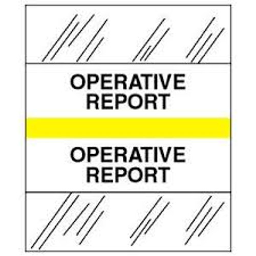 Amerifile (Tabbies Compatible) Chart Divider Tabs - Divider - Box of 100 - Yellow - Operative Report