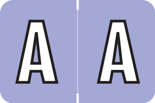 ColorBrite Alpha Labels - Letter A - Purple - 1 1/2 W x 1 H - Roll of 500