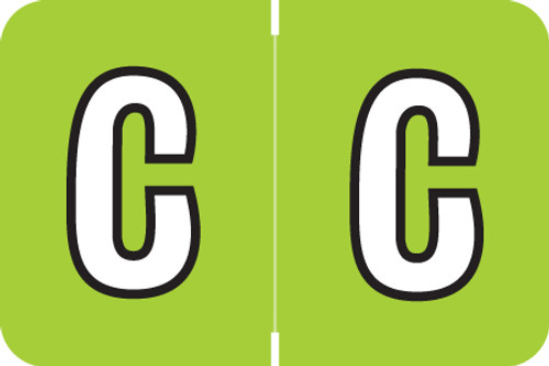 ColorBrite Alpha Labels - Letter C - Green - 1 1/2 W x 1 H - Roll of 500