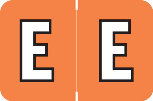 ColorBrite Alpha Labels - Letter E - Orange - 1 1/2 W x 1 H - Roll of 500