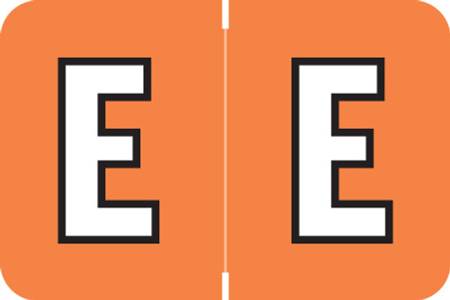 AmeriFile ColorBrite Alpha Labels - Letter E - Orange  - 1 1/2 W x 1 H - Rolls of 500