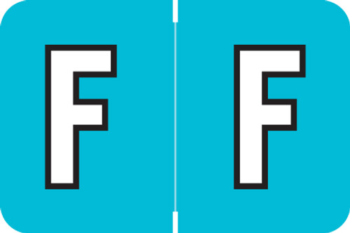 ColorBrite Alpha Labels - Letter F - Turquoise - 1 1/2 W x 1 H - Roll of 500
