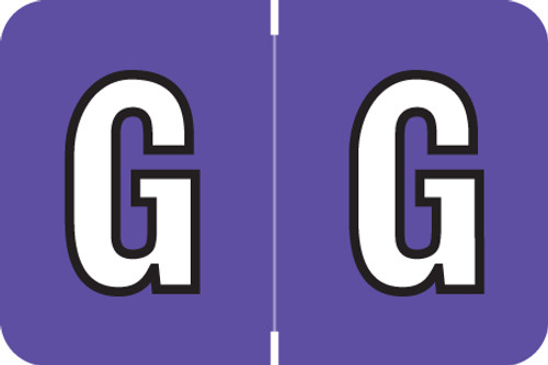 ColorBrite Alpha Labels - Letter G - Purple - 1 1/2 W x 1 H - Roll of 500