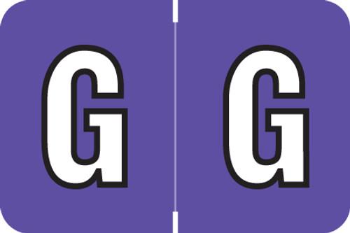 ColorBrite Alpha Labels - Letter G - Purple - 1 1/2 W x 1 H - Roll of 500