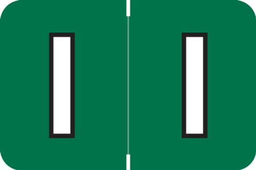 ColorBrite Alpha Labels - Letter I - Green - 1 1/2 W x 1 H - Roll of 500