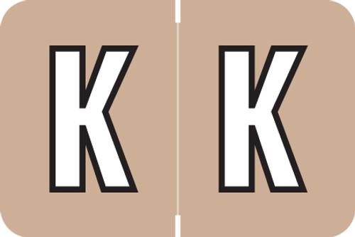 ColorBrite Alpha Labels - Letter K - Brown - 1 1/2 W x 1 H - Roll of 500