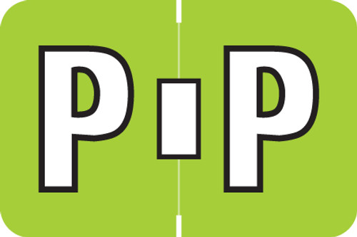 ColorBrite Alpha Labels - Letter P - Green - 1 1/2 W x 1 H - Roll of 500