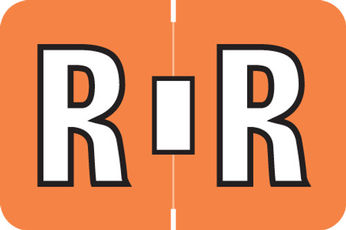 AmeriFile ColorBrite Alpha Labels - Letter R - Orange - 1 1/2 W x 1 H - Rolls of 500