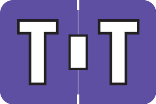 ColorBrite Alpha Labels - Letter T - Purple - 1 1/2 W x 1 H - Roll of 500