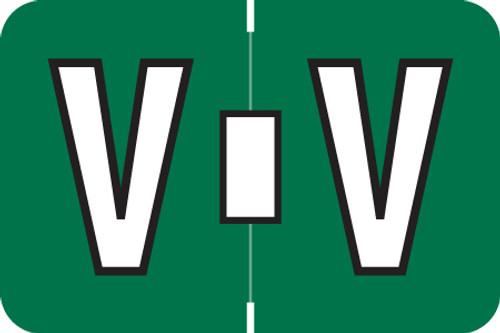 ColorBrite Alpha Labels - Letter V - Green - 1 1/2 W x 1 H - Roll of 500