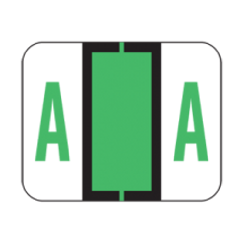 AmeriFile the File Doctor Compatible Alpha Labels - Letter A - Green - 1 1/4 W x 1 H  - Roll of 500