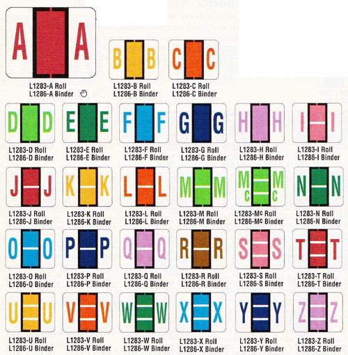 AmeriFile TAB Compatible Alpha Labels - Letter B - Yellow - 1 1/4 W x 1 H - Sheet of 50