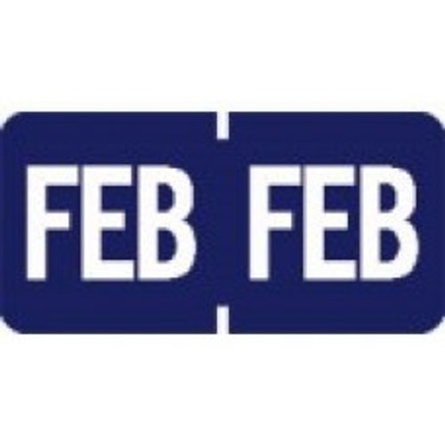 AmeriFile TAB Products Compatible Month Mini-Labels - February - Blue - 1 W x 1/2 H - Roll of 1000