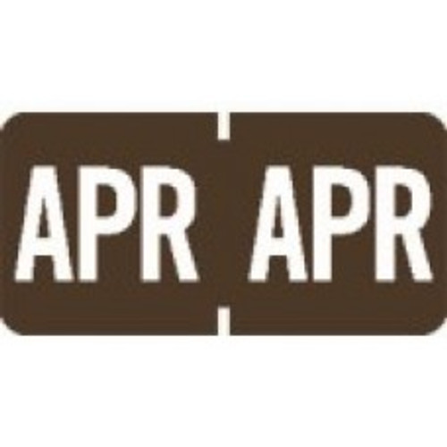 AmeriFile TAB Products Compatible Month Mini-Labels - April - Brown - 1 W x 1/2 H - Roll of 1000