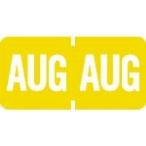 AmeriFile TAB Products Compatible Month Mini-Labels - August - Yellow - 1 W x 1/2 H - Roll of 1000