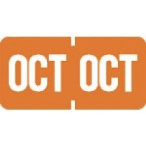 AmeriFile TAB Products Compatible Month Mini-Labels - October - Orange - 1 W x 1/2 H - Roll of 1000