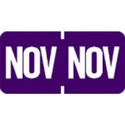 AmeriFile TAB Products Compatible Month Mini-Labels - November - Purple - 1 W x 1/2 H - Roll of 1000