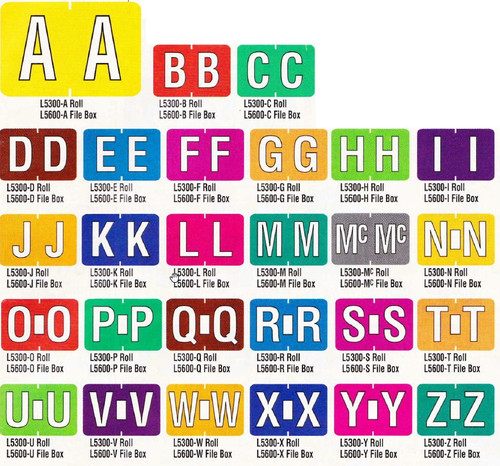 AmeriFile Patterson / Colwell Jewel Tone Compatible Alpha Labels - Letter A - Yellow - 1 1/2 W x 1 H - Pack of 225 Labels