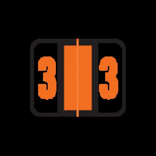 AmeriFile Smead BCCRN Compatible Numeric Labels - Number 3 - Orange - 1 1/4 W x 1 H - Box of 500