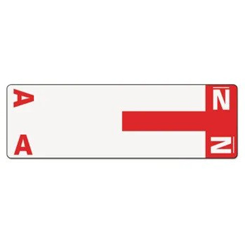 AmeriFile Alpha-Z Compatible Alpha Name Labels - Letter AN - Red - 3 5/8 W x 1 1/8 H - Package of 100 Labels