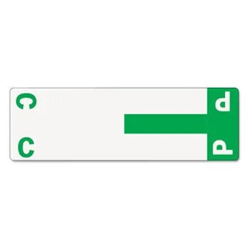 AmeriFile Alpha-Z Compatible Alpha Name Labels - Letter CP - Green - 3 5/8 W x 1 1/8 H - Package of 100 Labels