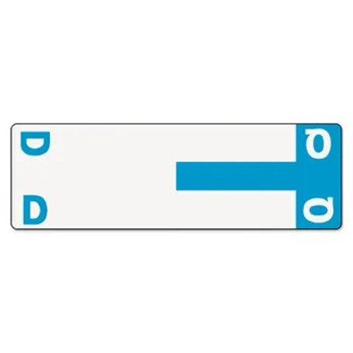 AmeriFile Alpha-Z Compatible Alpha Name Labels - Letter DQ - Turquoise - 3 5/8 W x 1 1/8 H - Package of 100 Labels