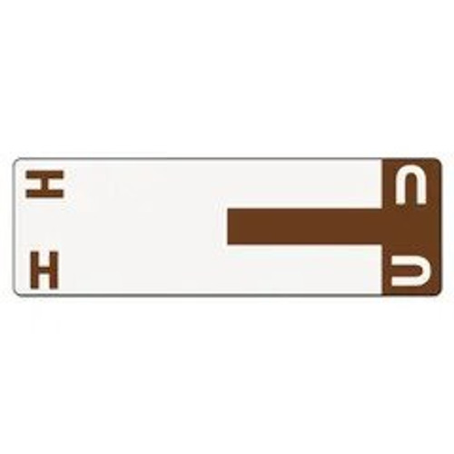 AmeriFile Alpha-Z Compatible Alpha Name Labels - Letter HU - Brown - 3 5/8 W x 1 1/8 H - Package of 100 Labels