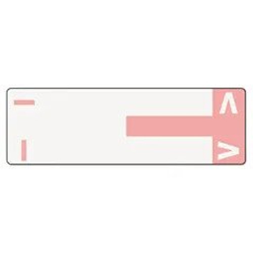 AmeriFile Alpha-Z Compatible Alpha Name Labels - Letter IV - Pink - 3 5/8 W x 1 1/8 H - Package of 100 Labels