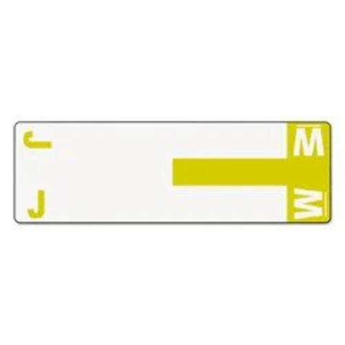 AmeriFile Alpha-Z Compatible Alpha Name Labels - Letter JW - Yellow - 3 5/8 W x 1 1/8 H - Package of 100 Labels